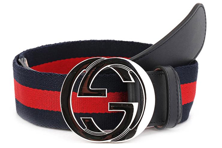 GUCCI 古驰 411924 H917N 8497 男士红蓝标带帆布板扣腰带