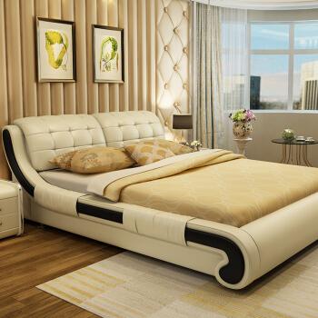 中派 卧室双人软皮床 1.8*2米 床+床垫+床头柜1个