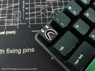 HolyOOPS BAPE 鲨鱼头 金属机械键盘键帽 透光