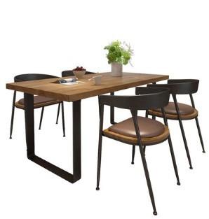 微观世界 实木1.2米餐桌+4把铁艺半圆椅组合