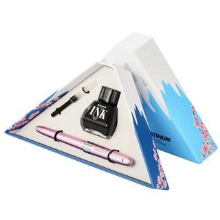 PLATINUM 白金 PGB-1000 钢笔 富士山盒绘礼盒套装 (0.3MM、粉红色)