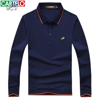 CARTELO 卡帝乐鳄鱼 长袖T恤男翻领条纹拼接男士休闲POLO衫 宝蓝色 XL码