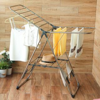 ORANGE 欧润哲 晾衣架 不锈钢翼型落地可折叠多用途晒衣架 室内外阳台晒衣杆 改良版 灰色