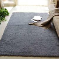 九洲鹿 地毯家紡 客廳臥室防滑地墊140*200cm 加厚絲毛腳墊床邊毯長絨茶幾毯爬行墊子 奶灰色