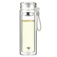 富光 格雅系列玻璃杯 糖果色雙層帶茶隔玻璃水杯泡茶杯 男女士創意便攜水杯子 320ML 米白色 *9件