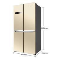 惠而浦(Whirlpool) 610升冻龄双驱变频十字对开门冰箱 风冷无霜第六感PI保鲜 旭日棕BCD-610WMBW