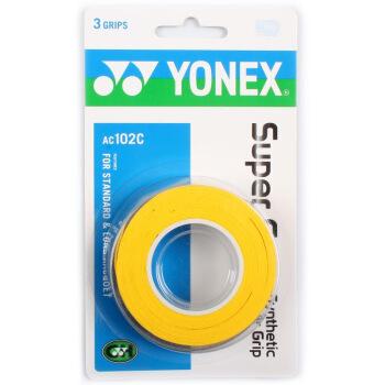 尤尼克斯YONEX 羽毛球拍手胶吸汗带握手胶AC-102C-004 黄色三条装