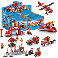 積高消防系列積木 塑料拼插男孩益智玩具 13018 *3件