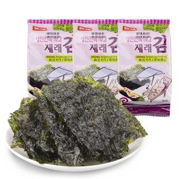 韩国进口 韩福海苔 休闲零食经典原味儿童零食 5g*3包