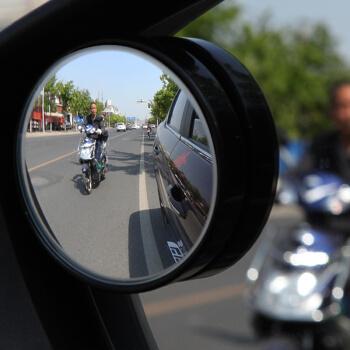 KOOLIFE 后视镜小圆镜汽车后视镜倒车小圆镜广角镜反光镜圆形5.0cm去盲点辅助镜 黑色边框对装