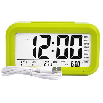 北极星(POLARIS)闹钟静音充电智能贪睡床头钟表创意语音报时学生闹表儿童夜光电子台钟6001充电款绿色