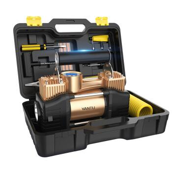 沿途 车载充气泵   金属双30缸 预设胎压数显 含维修工具套装箱 汽车轮胎用 12v便携式电动打气泵 E21 金色