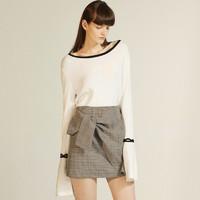 秋季焕新:Lily 117340B8727 女士喇叭袖修身大圆领针织衫