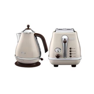 德龙(Delonghi)电水壶&多士炉 复古早餐系列 两件套 奶油白