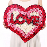I'M HUA HUA99朵love紅香皂玫瑰花禮盒保鮮花速遞520情人節鮮花生日禮物送女生送老婆 *3件