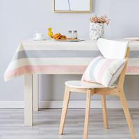 錦色華年 簡愛條紋餐桌布 色織布藝餐桌茶幾圓布墊套裝可定制 粉色蕾絲邊 100*160cm *3件