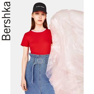 Bershka 巴适卡 02664111600 女士罗纹T恤 (红色、M)