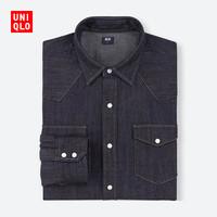 UNIQLO 优衣库 412961 男士牛仔衬衫 (藏青色、XL)