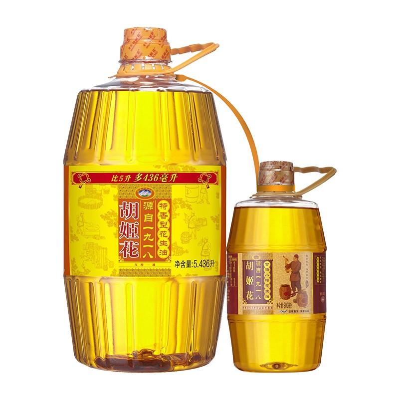 胡姬花 特香型花生油 5.436L+ 赠 古法小榨花生油 900ml
