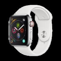 Apple Watch Series 4智能手表(GPS 蜂窩網絡款 44毫米不銹鋼表殼 白色運動型表帶 MTX02CH/A)