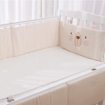 威爾貝魯(WELLBER)嬰兒床圍套件 寶寶彩棉加厚床圍床上用品四季防撞嬰兒床圍 小熊款