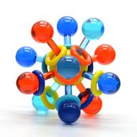 Manhattan Toy曼哈顿球牙胶手抓球 婴儿玩具安抚奶嘴固齿磨牙摇铃 原子结构拨浪鼓-透明款 *4件