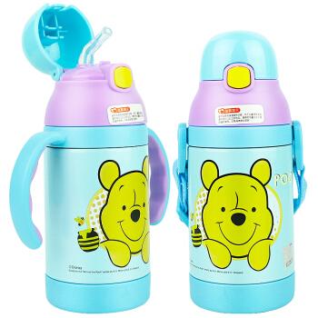 迪士尼儿童水杯 宝宝吸管杯 婴儿保温学饮杯背带保温壶喝水训练杯子(两用)300ML  维尼