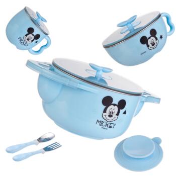迪士尼(Disney)儿童餐具保温碗 宝宝316不锈钢餐具套装婴儿辅食碗吸盘碗叉勺子5件套蓝色米奇