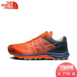 TheNorthFace北面春夏新品抓地吸湿排汗户外男越野跑步鞋 2VVC (橙蓝、39.5)