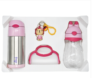 THERMOS 膳魔师  FFI-403 PN+BBSH-420 PP(JD)  儿童定制款吸管杯套装