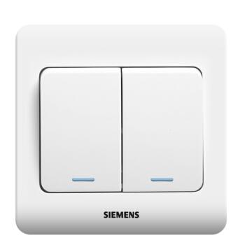 西门子(SIEMENS)开关插座 远景系列 双开双控 带荧光开关面板 (雅白色)5TA01171CC1
