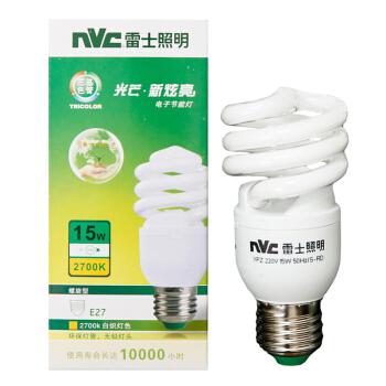 雷士照明(NVC)节能灯 E27大口螺旋15W2700K 白炽灯色(黄光)