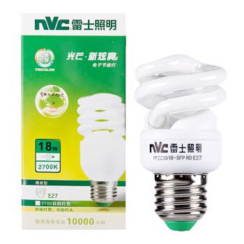 雷士照明(NVC)节能灯 E27大口螺旋18W2700K 白炽灯色(黄光)