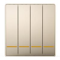 正泰(CHNT)開關插座面板 四開雙控開關16A 淡香檳金 NEW2D系列