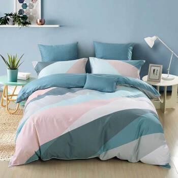 水星家纺(MERCURY) 全棉印花四件套简约北欧风被套床单床上用品 威尼斯特 双人1.5米床