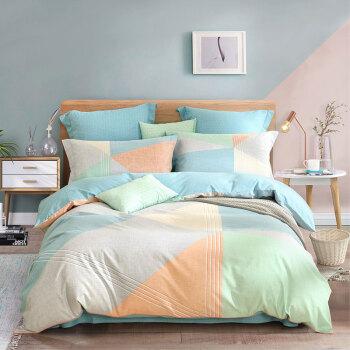 水星家纺 床上四件套纯棉 全棉磨毛床品套件秋冬加厚被套床单被罩 耳语海岸(绿色)双人1.5米床
