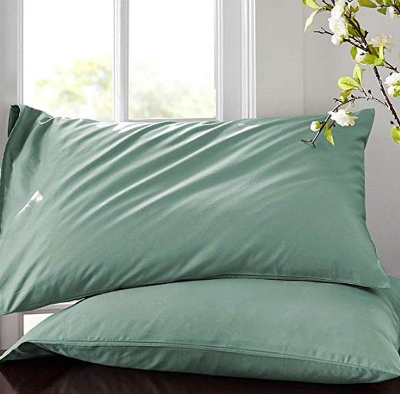 铭都家品 60支长绒棉纯色枕头套 一对装
