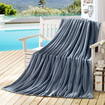 迎馨 毛毯家纺 四季毯子可做盖毯床单午休被素色珊瑚绒毛毯 150*200cm 银灰色
