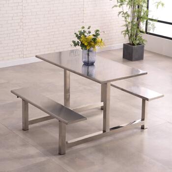 欧宝美食堂餐桌椅连体四人位公司员工学校食堂餐桌饭店不锈钢餐桌椅玻璃钢四人位(C款)