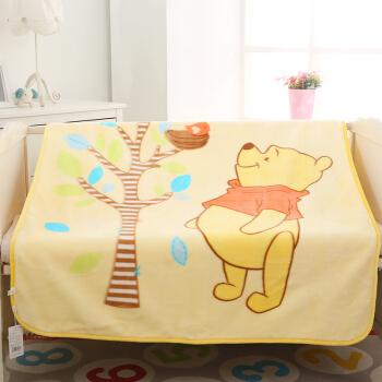 迪士尼 DisneyBaby 儿童婴儿毛毯毛巾被云毯被子宝宝毯子双层加厚小孩盖毯礼盒装 欢乐童趣 140*110cm 黄色