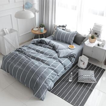 北极绒 纯棉三件套全棉套件床上用品 学生宿舍单人床单被套 遇见爱 0.9/1.2米床