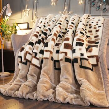 南极人(NanJiren)毛毯 拉舍尔毛毯 加厚保暖双人秋冬厚毯子被子盖被 米格 约6.6斤