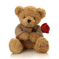 GLOBAL BOWEN BEAR 柏文熊 脚印毛衣熊布娃娃公仔 浅棕色 40cm *5件