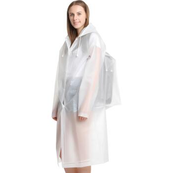 捷昇(JIESHENG) 雨衣成人带背包男女长款非一次性户外旅游登山垂钓徒步大帽檐防水透明雨披 白色 XL