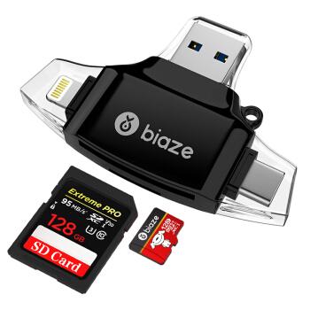 毕亚兹 手机读卡器 多功能合一 OTG读卡器 USB手机U盘 插TF/SD卡 Type-c安卓苹果手机电脑相机通用 A9-黑