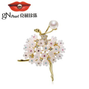 京润珍珠花月佳人8-9mm馒头形合金镶白色淡水珍珠胸针白色8-9mm