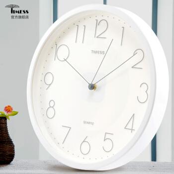 Timess挂钟 客厅创意静音现代简约石英钟9英寸8958-1珍珠白