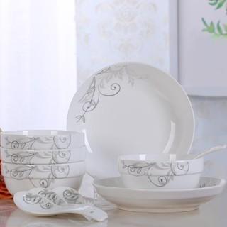 富昱景 餐具套装14头碗碟套装