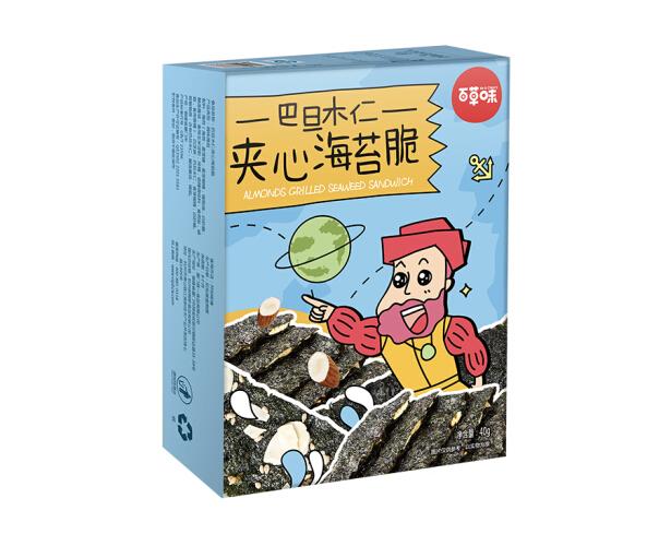 Be&Cheery 百草味 巴旦木仁夹心海苔脆 40g