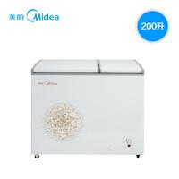 Midea/美的 BCD-200DKM(E)冰柜商用小冷柜臥式雙溫冷藏冷凍家用柜